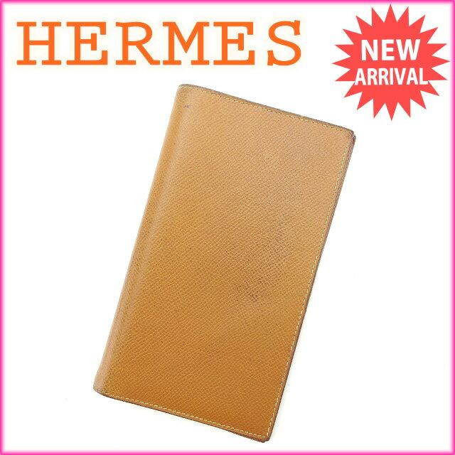 【お買い物マラソン】 【中古】 エルメス HERMES 手帳カバー ライトブラウン レザー E882 .