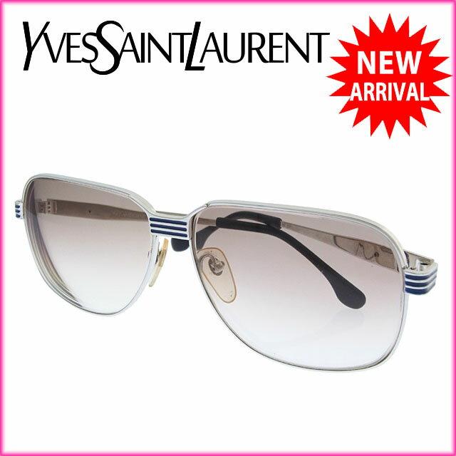 イヴサンローラン YVES SAINT LAURENT サングラス メガネ メンズ パイロット型 度入り 近視用 31-910 2 クリアベージュ×シルバー系 プラスティック×シルバー金具 (あす楽対応)激安 【中古】 Y2634