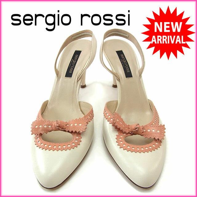 セルジオロッシ Sergio Rossi パンプス シューズ 靴 レディース ♯38 スリングバック リボンモチーフ ホワイト×サーモンピンク レザー (あす楽対応)良品 セール【中古】 Y2656