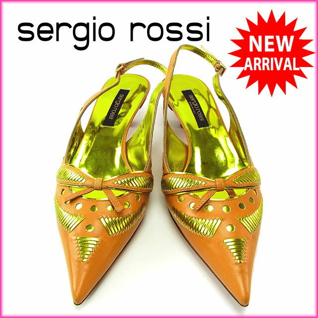 【中古】 セルジオロッシ Sergio Rossi パンプス シューズ 靴 レディース ♯36ハーフ スリングバック ポインテッドトゥ ライトブラウン×ゴールド レザー (あす楽対応)良品 Y2658 .