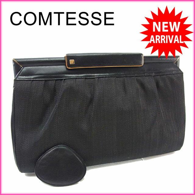 【中古】 コンテス comtesse セカンドバッグ クラッチバッグ メンズ可 Cマーク 6032 ブラック×ゴールド キャンバス×レザー (あす楽対応)激安 Y2815