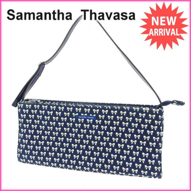 【お買い物マラソン】 【中古】 サマンサタバサ Samantha Thavasa ショルダーバッグ ワンショルダー レディース ネイビー×ホワイト キャンバス×エナメル (あす楽対応)激安 Y2959s