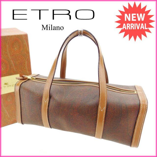 エトロ ETRO ハンドバッグ レディース ペイズリー ブラウン PVC×レザー (あす楽対応)激安 セール【中古】 Y2974