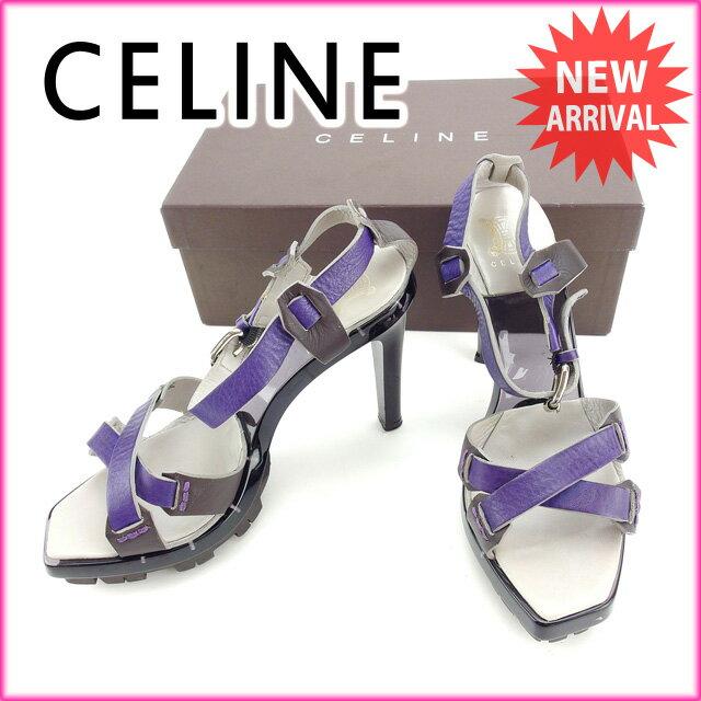 セリーヌ CELINE サンダル #37 1/2 レディース グレー×パープル (あす楽対応)良品 【中古】 Y2990