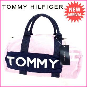 tomihirufiga TOMMY HILFIGER寬底旅行皮包2WAY肩膀女士粉紅棉100%未使用的物品A899