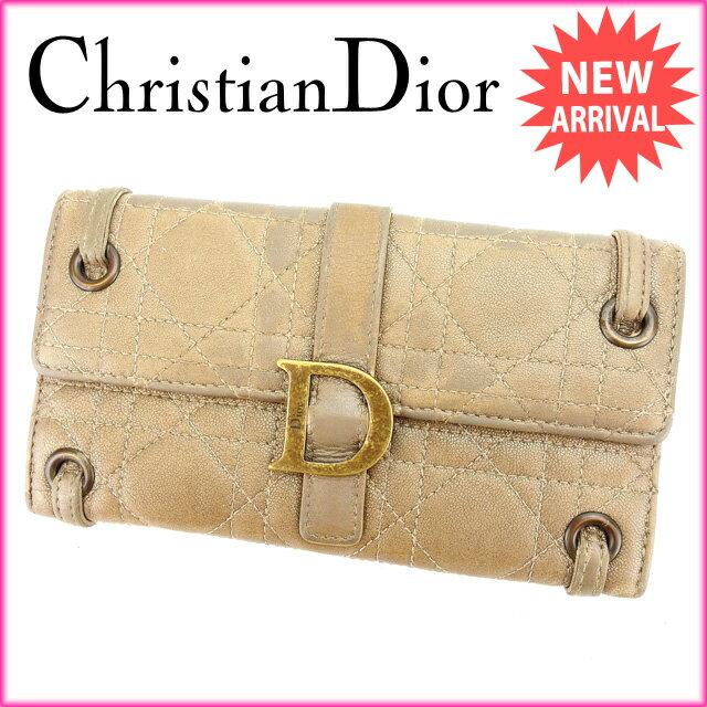 クリスチャン・ディオール Christian Dior 長財布 Wホック レディース キルト ブロンズ レザー 【中古】 G658