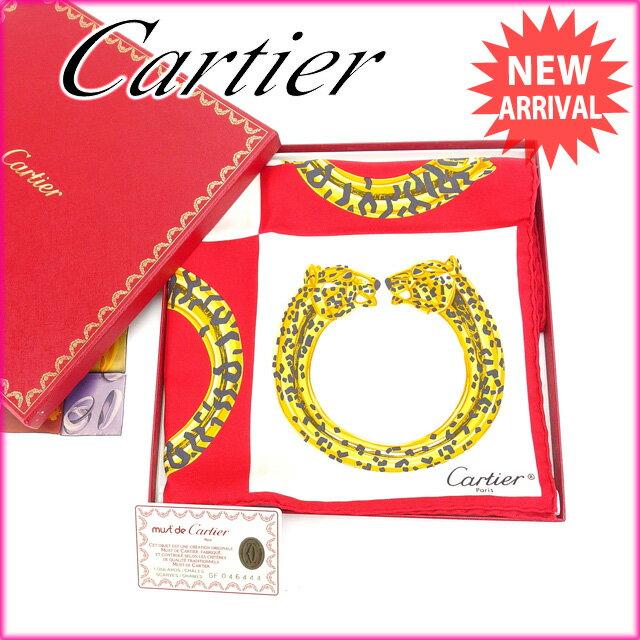 【中古】 カルティエ Cartier スカーフ 大判サイズ ファッションアイテム レディース パンテール ホワイト×レッド×ゴールド系 SILK/100% (あす楽対応)激安 S017