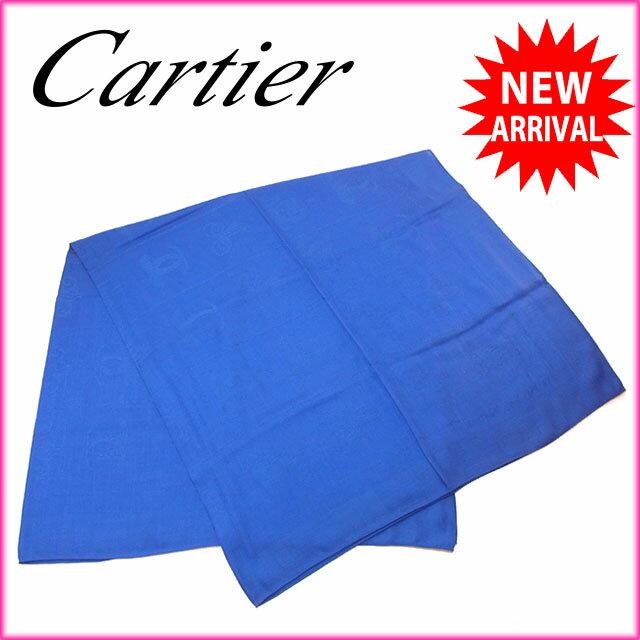【中古】 カルティエ Cartier スカーフ ショール 大判サイズ レディース 2Cモチーフ ブルー SILK/60%W/40% (あす楽対応)未使用 Y2828