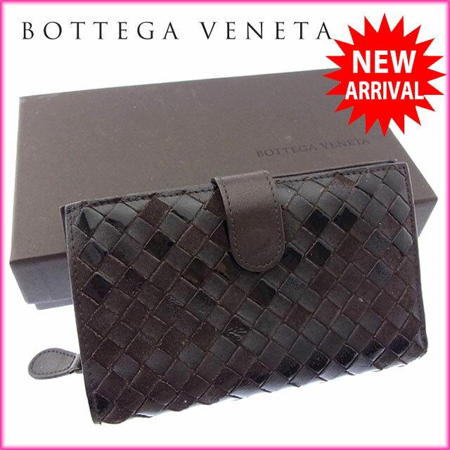 ボッテガヴェネタ BOTTEGA VENETA 二つ折り財布 ラウンドファスナー メンズ可 イントレチャート 121060 ダークブラウン レザー 【中古】 J9187