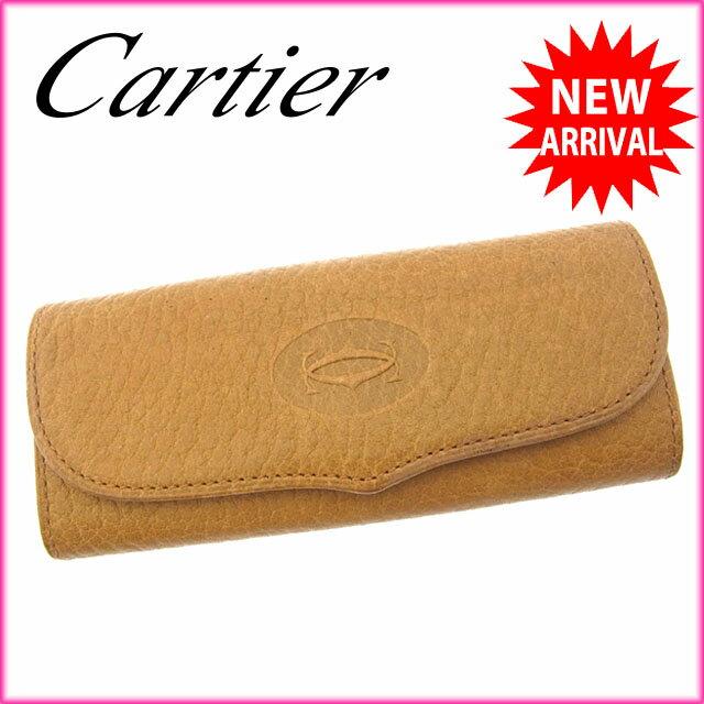 【お買い物マラソン】 【中古】 カルティエ Cartier キーケース 4連キーケース メンズ可 2Cモチーフ ベージュ×ゴールド×ボルドー レザー H232s