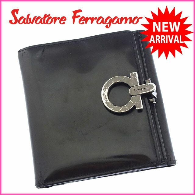 サルヴァトーレフェラガモ Salvatore Ferragamo Wホック財布 二つ折り コンパクトサイズ メンズ可 ガンチーニクリップ ブラック×ブラックシルバー エナメルレザー (あす楽対応)激安 セール【中古】 N241