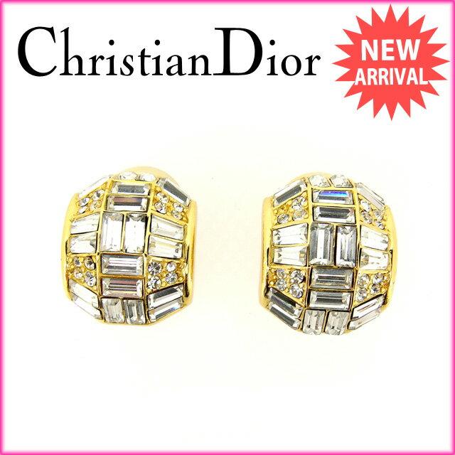 クリスチャン・ディオール Christian Dior イヤリング アクセサリー レディース ラインストーン ゴールド 【中古】 C1752 .