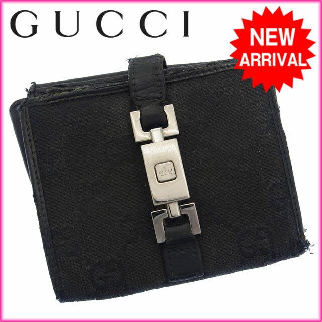 グッチ GUCCI 二つ折り財布 メンズ可 GG柄 ブラック レザー 【中古】 G101
