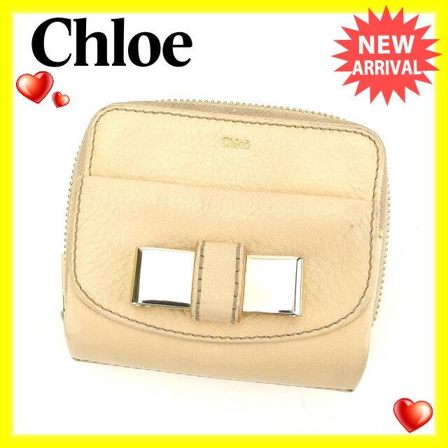 クロエ Chloe 二つ折り財布 ラウンドファスナー レディース メタルリボン付き リリィ ピンクベージュ×ゴールド レザー 【中古】 G719