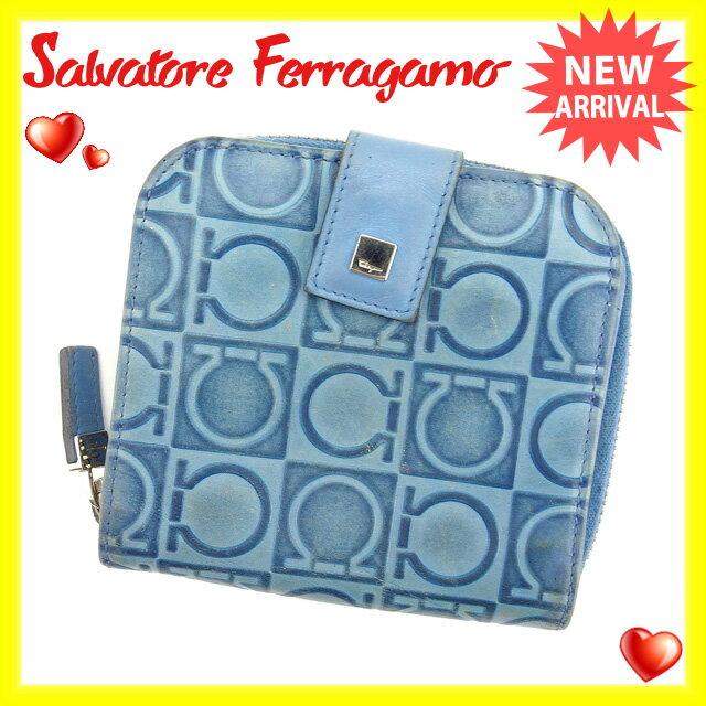 サルヴァトーレフェラガモ Salvatore Ferragamo 二つ折り財布 ラウンドファスナー メンズ可 ガンチーニ柄 ブルー×シルバー レザー 【中古】 G751
