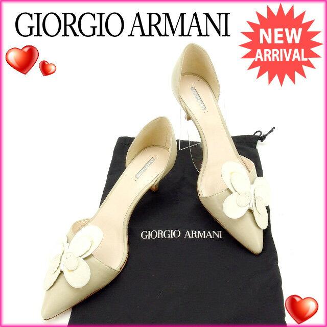 ジョルジオ アルマーニ パンプス セパレート Giorgio Armani ベージュ×ホワイト 【中古】 L465s