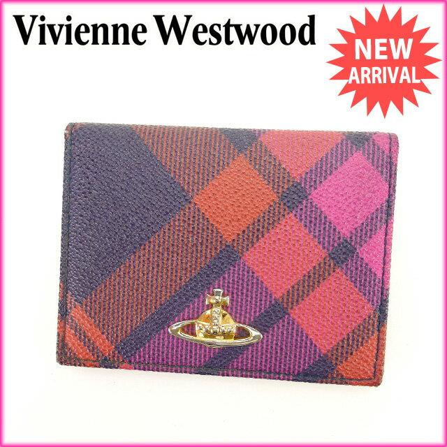 ヴィヴィアンウエストウッド Vivienne Westwood カードケース パスケース メンズ可 チェック×オーブ ピンク×パープル×ゴールド系 PVC×レザー (あす楽対応)人気 セール【中古】 L485