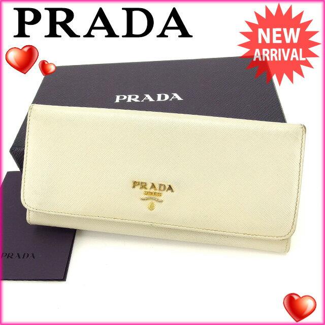 プラダ PRADA 長財布 ファスナー 二つ折り メンズ可 ロゴ 1M1132 ライトベージュ×ゴールド サフィアーノレザー (あす楽対応)人気 セール【中古】 L510