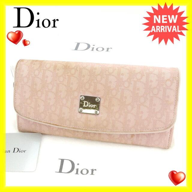 クリスチャン・ディオール Christian Dior 長財布 レディース トロッター ピンク キャンバス×レザー (あす楽対応)激安 即納【中古】 N270