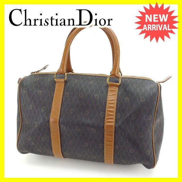 クリスチャンディオール Christian Dior ボストンバッグ ハンドバッグ メンズ可 ロゴ柄 ブラック×ブラウン×ゴールド PVC×レザー 【中古】 D1384