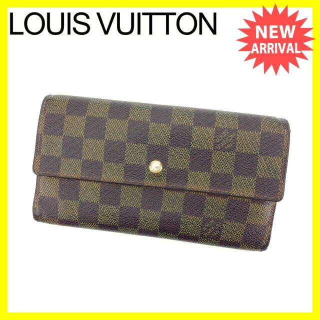 ルイ ヴィトン 三つ折り長財布 メンズ可 ポルトトレゾールインターナショナル ダミエ N61217 PVC×レザー 【中古】 H357