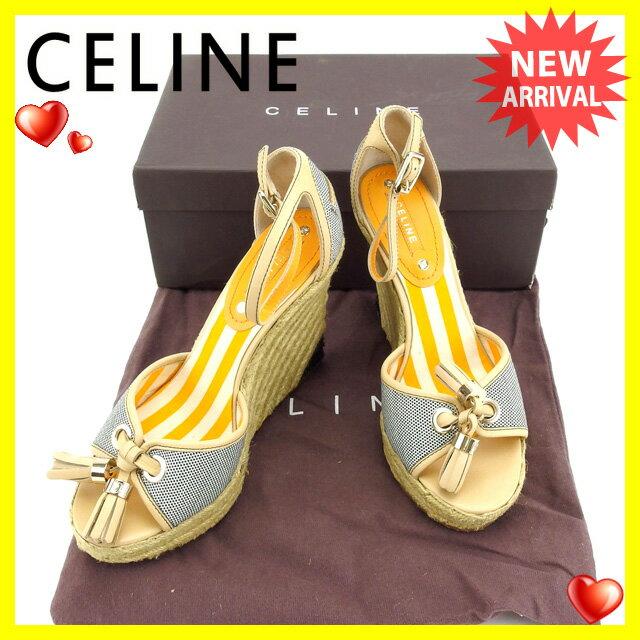 セリーヌ CELINE サンダル シューズ 靴 レディース ♯37 ウェッジソール ベージュ×ゴールド×ナチュラル系 キャンバス×レザー (あす楽対応)中古 【中古】 Y3437