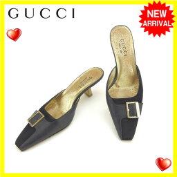 古馳GUCCI黑尾鹿鞋鞋女士♯35C廣場二皮帶設計黑色×黄金皮革C1862