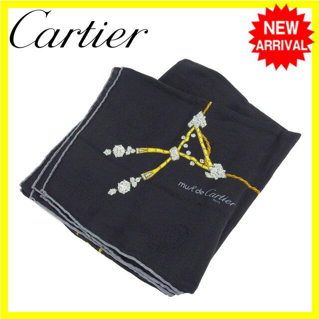 【お買い物マラソン】 【中古】 カルティエ Cartier スカーフ 大判サイズ レディース ジュエリー柄 ブラック×イエローゴールド SILK/100% D1321s