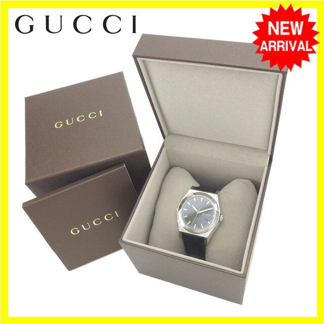【中古】 グッチ GUCCI 腕時計 クォーツ メンズ ラウンドフェイス ロゴ パンテオン YA115203 シルバー×ブラック ステンレススチール×サファイアガラス×レザー (あす楽対応) 未使用 Y3182