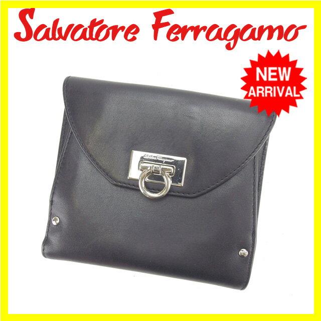 サルヴァトーレフェラガモ Salvatore Ferragamo Wホック財布 二つ折り コンパクトサイズ メンズ可 ガンチーニ金具 ブラック×シルバー レザー (あす楽対応)人気 セール【中古】 L533