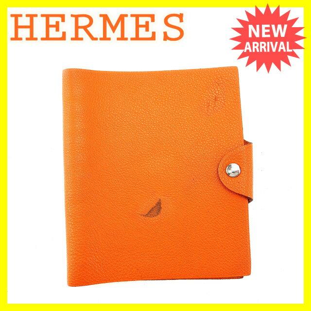 エルメス HERMES 手帳カバー アジェンダ メンズ可 ユリスMM オレンジ×シルバー レザー (あす楽対応)人気 【中古】 Y3702