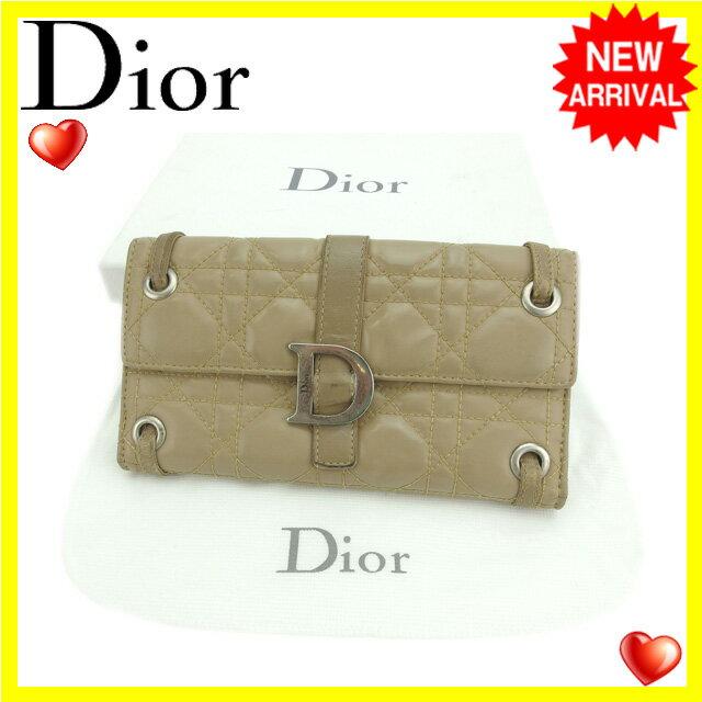 クリスチャン・ディオール Christian Dior 長財布 Wホック レディース キルト ベージュ エナメルレザー 【中古】 E956