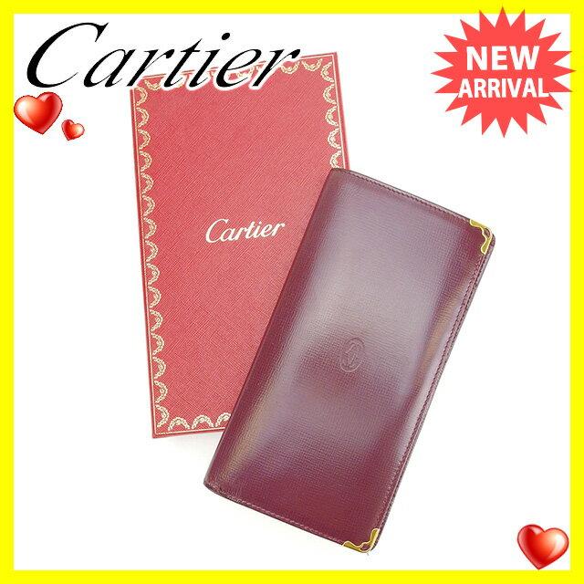 カルティエ Cartier 長財布 ファスナー 二つ折り 男女兼用 マストライン ボルドー×ゴールド レザー 【中古】 C2070