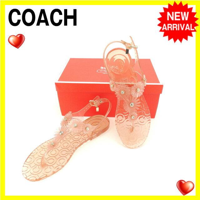 コーチ COACH サンダル #8 レディース ピンク ラバー (あす楽対応)良品 【中古】 Y3736