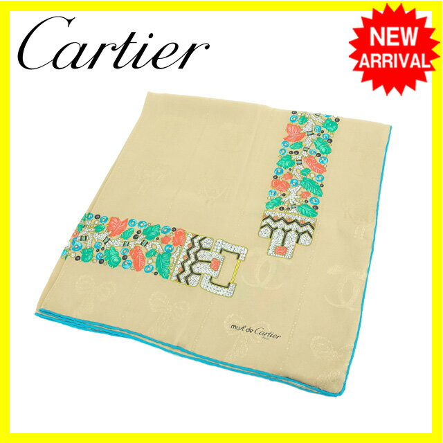 【中古】 カルティエ Cartier スカーフ 大判サイズ レディース マストライン ベージュ×ブルー系 SILK/100% (あす楽対応)良品 Y4011