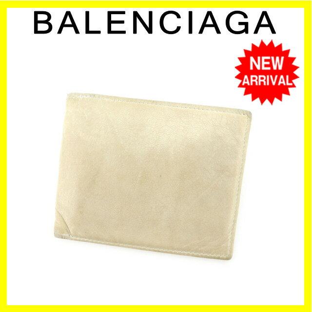 バレンシアガ BALENCIAGA 二つ折り財布 男女兼用 173863 ホワイト レザー 【中古】 G839