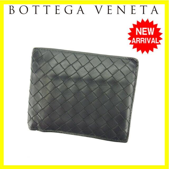 ボッテガヴェネタ BOTTEGA VENETA 二つ折り財布 男女兼用 イントレチャート ブラック レザー 【中古】 J11018
