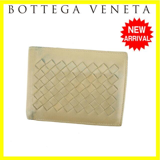 ボッテガヴェネタ Bottega Veneta 二つ折り財布 男女兼用 イントレチャート 113112 ベージュ レザー 【中古】 J11163