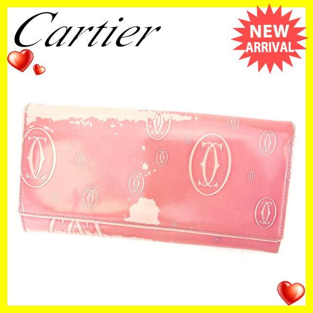 カルティエ Cartier 長財布 ファスナー 二つ折り レディース ハッピーバースデー ピンク×シルバー レザー (あす楽対応)人気 セール【中古】 L704