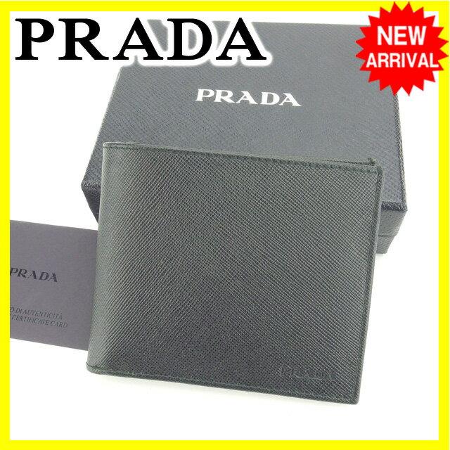 プラダ PRADA 二つ折り札入れ メンズ ロゴ ブラック 美品 セール 【中古】 N330