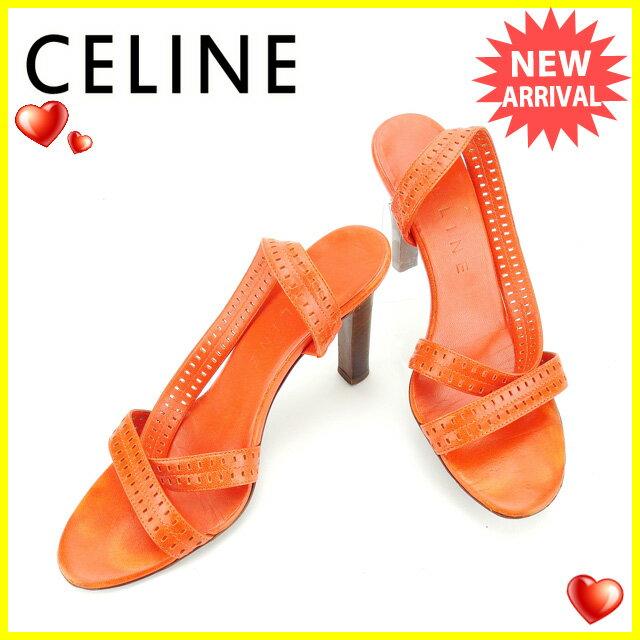 セリーヌ CELINE サンダル #35 1 2C レディース オレンジ レザー 【中古】 D1548