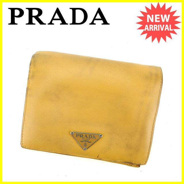 プラダ PRADA 二つ折り財布 男女兼用 ロゴプレート ベージュ×シルバー レザー 【中古】 A1032