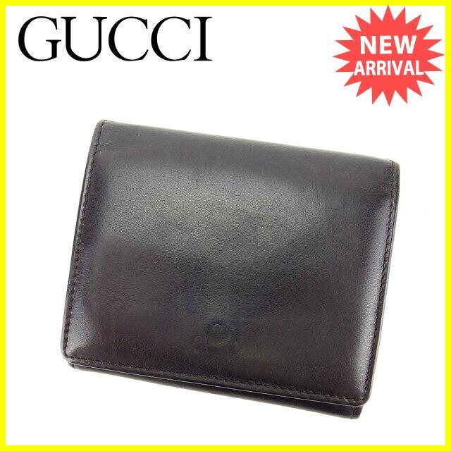 グッチ GUCCI Wホック財布 ミニサイズ メンズ ロゴ ブラック ラムレザー (あす楽対応)良品 セール【中古】 P391
