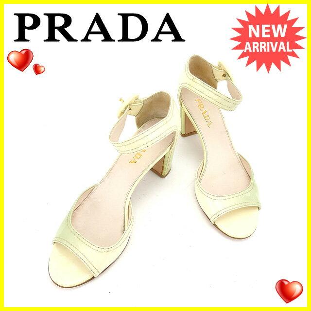 プラダ PRADA サンダル シューズ 靴 レディース ♯36ハーフ アンクルストラップ ベージュ×グリーン エナメルレザー 【中古】 C2478