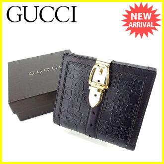 有古驰GUCCI W挂钩钱包对开钱包皮带环形别针的软管比特花纹黑色×黄金皮革美品C2488