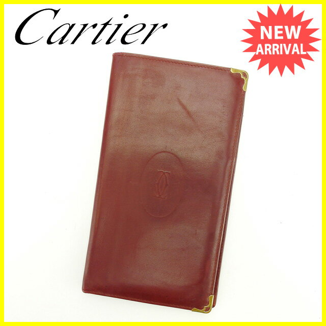 カルティエ 長札入れ Cartier ボルドー×ゴールド 【中古】 Q271s