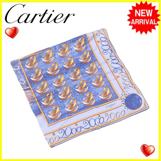 カルティエ スカーフ 大判サイズ Cartier ブルー×イエローゴールド系 【中古】 L977s