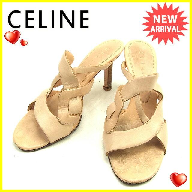 セリーヌ Celine サンダル #36 1/2 メンズ可 ピンクベージュ レザー 人気 【中古】 T689