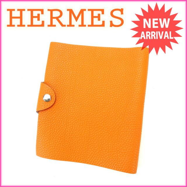 エルメス HERMES 手帳カバー ユリスPM オレンジ レザー (あす楽対応)人気 良品【中古】 Y1809