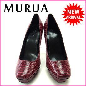 【中古】 ムルーア MURUA パンプス スクエアトゥ シューズ 靴 レディース ♯235 ハイヒール パイソン柄 レッド×ブラック PVC (あす楽対応)激安 良品 T11224 .